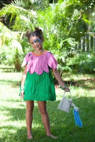 fantasia infantil de flor com vestido
