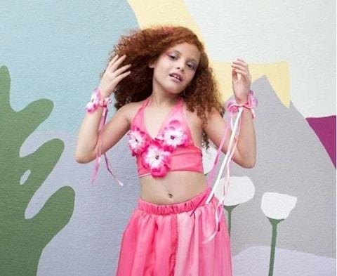 fantasia de flor rosa para menina