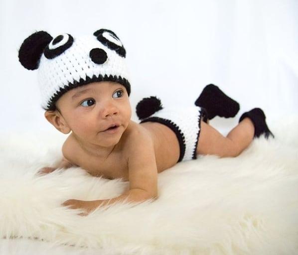 fantasia de panda em croche para bebe