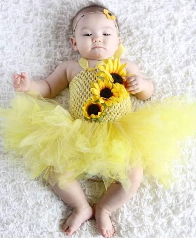 fantasia de girassol para bebe