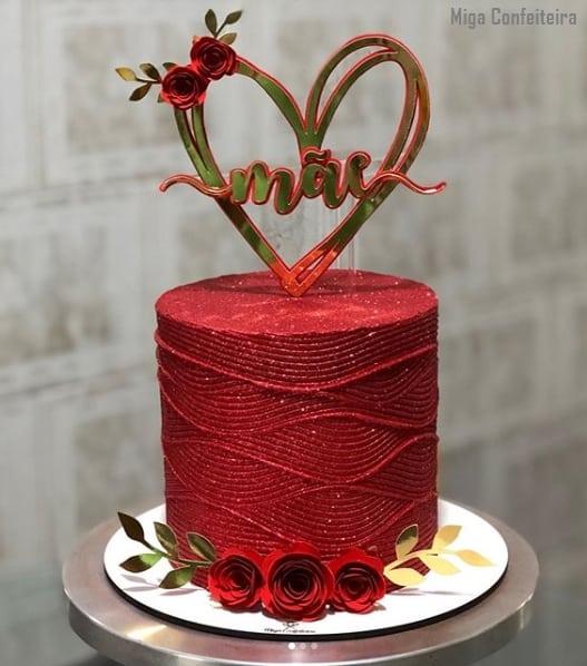 bolo para dia das maes decorado com glitter vermelho