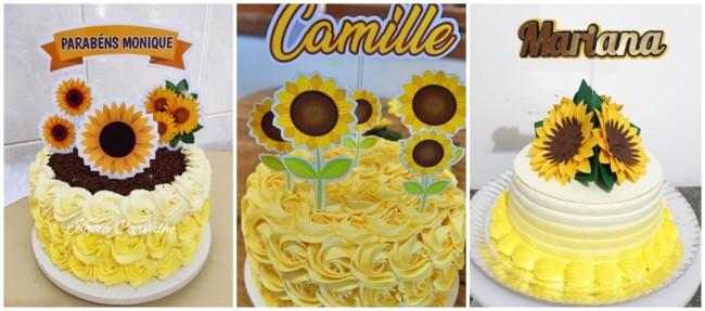 ideias para bolo girassol de chantilly