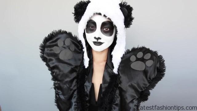 fantasia de panda feminina com maquiagem