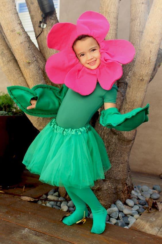 fantasia infantil de flor com saia de tule