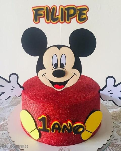 bolo do Mickey com glitter vermelho