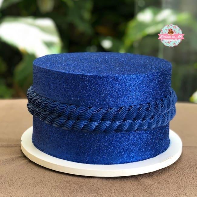 bolo de glitter azul escuro