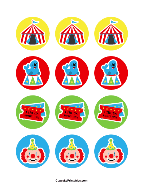 toppers de circo para imprimir gratis e decorar docinhos