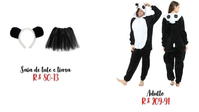 modelos e precos de fantasia panda