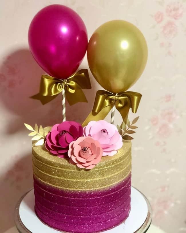 glow cake rosa e dourado