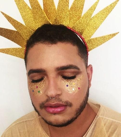 fantasia de sol para homem com tiara de EVA