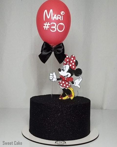 bolo da Minnie com glitter preto