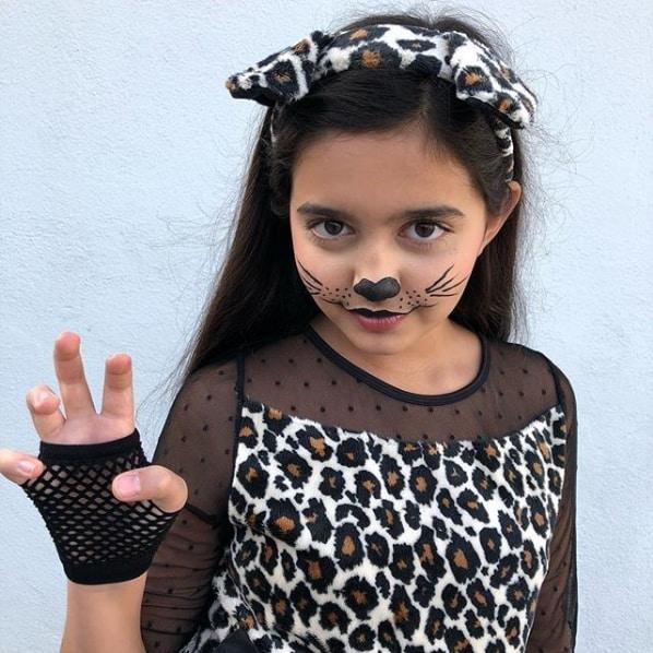 fantasia infantil de onca com maquiagem facil