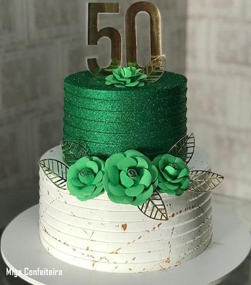 bolo glow cake verde de 2 andares