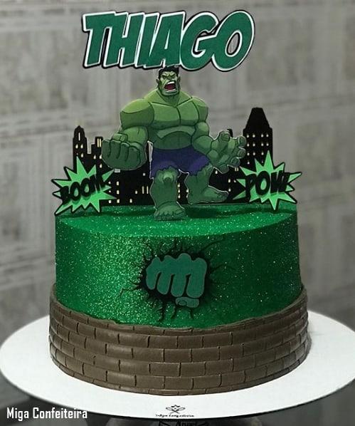 bolo hulk com glitter verde