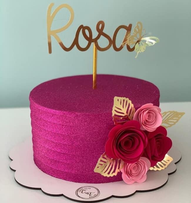 glow cake pink decorado com toppers