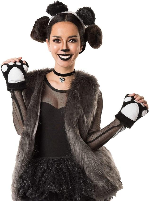 ideia de fantasia de panda com maquiagem