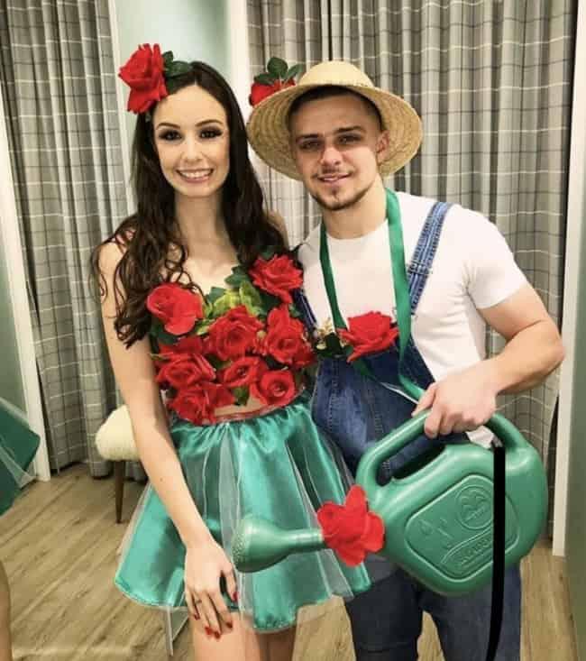 fantasia de carnaval para casal com flor e jardineiro
