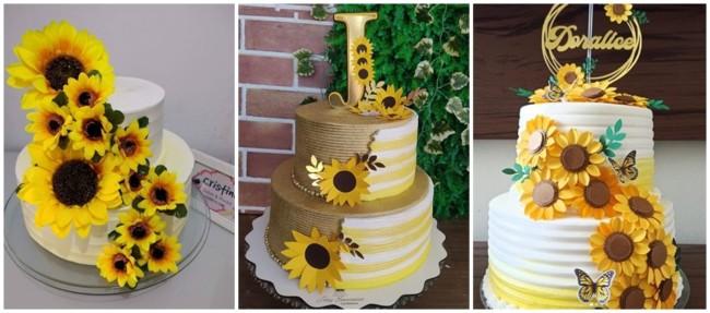 ideias para bolo girassol de 2 andares