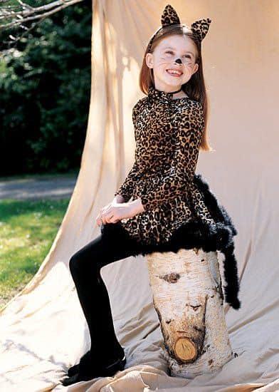 fantasia infantil de onca com vestido e tiara