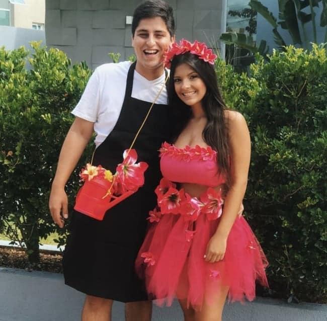 fantasia criativa para casal com flor e jardineiro