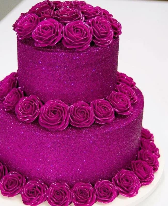bolo glow cake pink de 2 andares