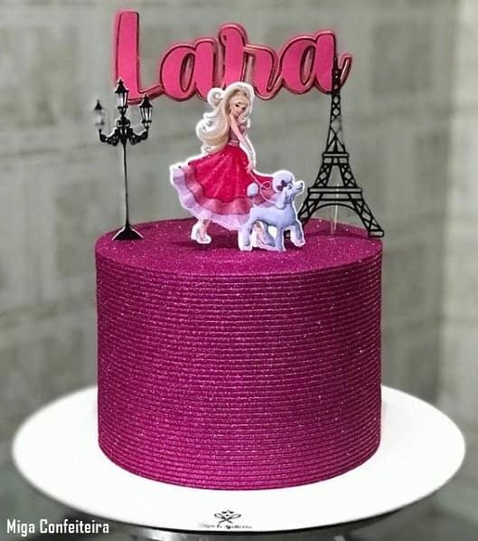 bolo de glitter da Barbie