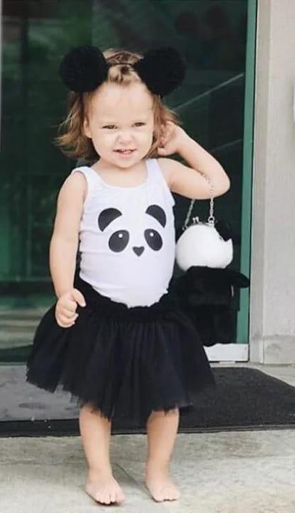 fantasia de panda para menina com saia