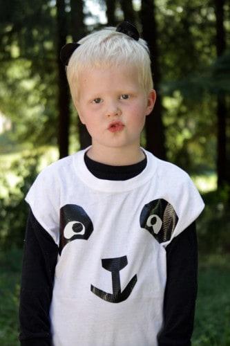 fantasia simples de panda para menino