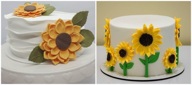ideias para bolo girassol de pasta americana