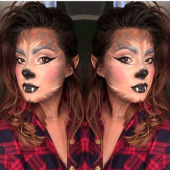 maquiagem de lobisomem feminina para halloween