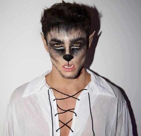 fantasia de lobisomem masculina com maquiagem tematica