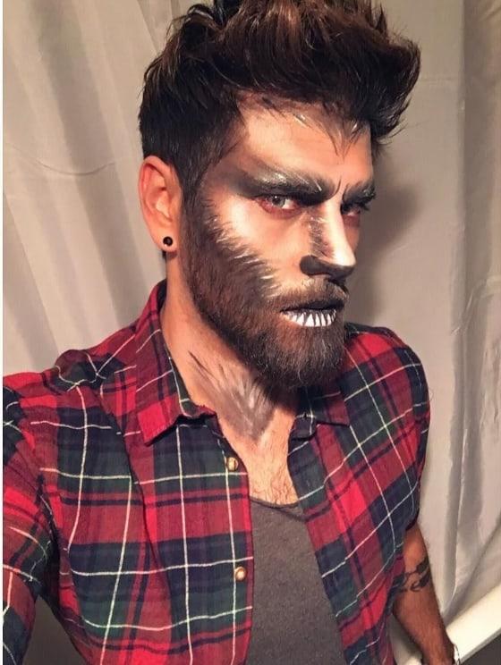 maquiagem de lobisomem para homem com barba