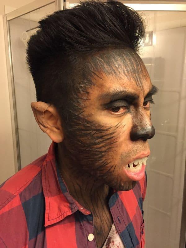 maquiagem masculina de lobisomem