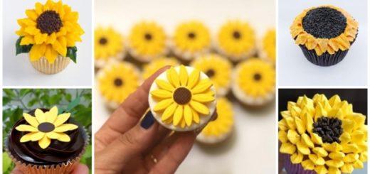 cupcake de girassol