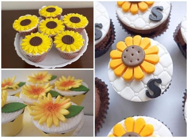 cupcake de pasta americana com tema de girassol