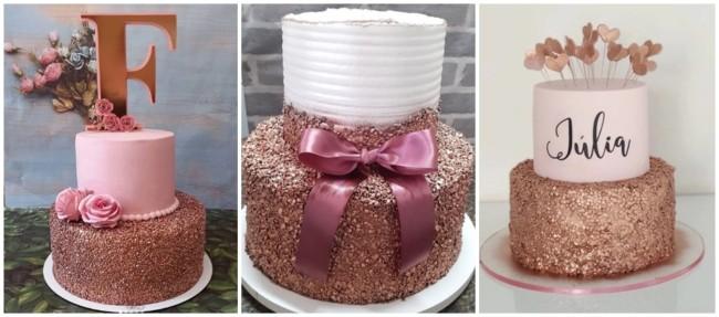 bolo de 2 andares rose gold