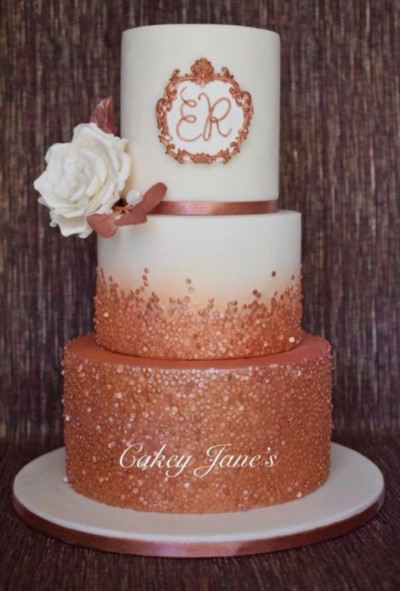 bolo de casamento rose gold
