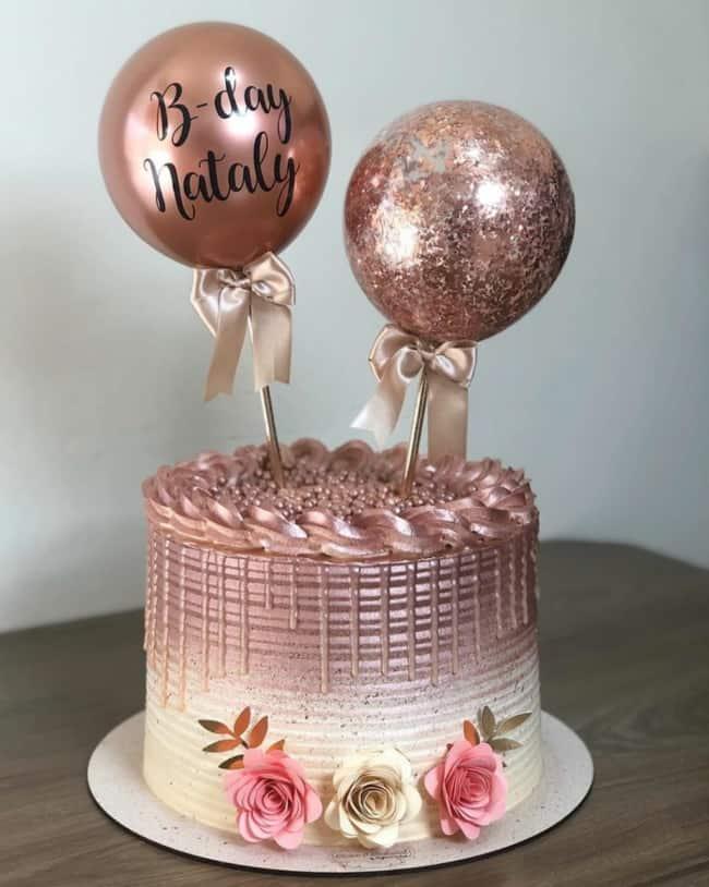 baloon cake rose gold