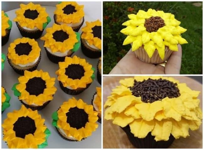 cupcake de girassol decorado com chantilly