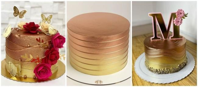 bolo rose gold e dourado