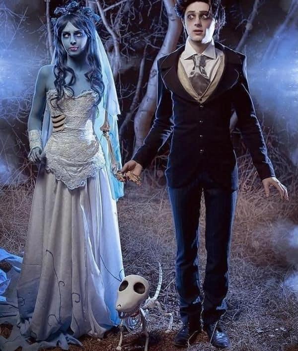 Personagens Emily e Victor A Noiva Cadaver