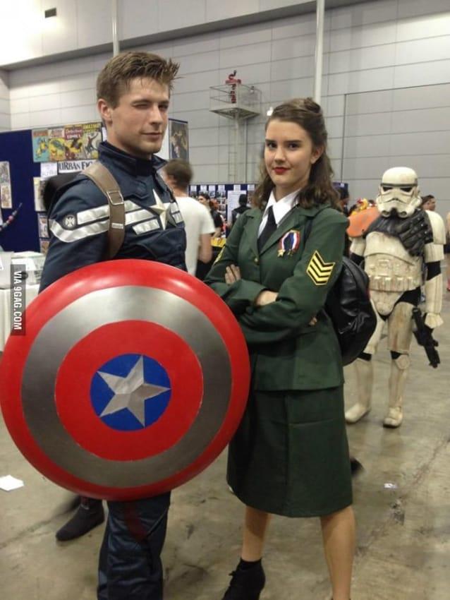 Personagens Steve Rogers e Peggy Carter Capitao America