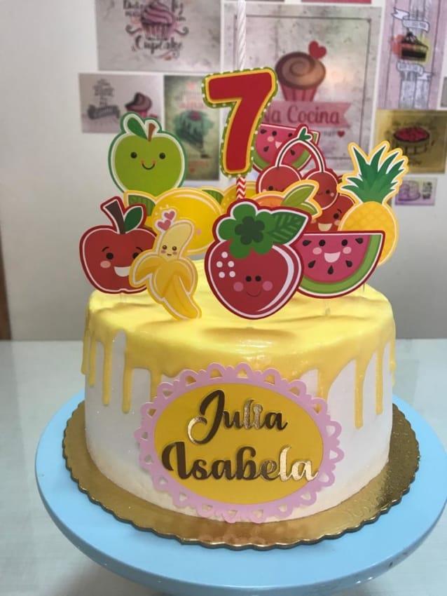 topo de bolo mesversario de frutas 7 meses