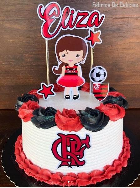bolo feminino do Flamengo com topo personalizado