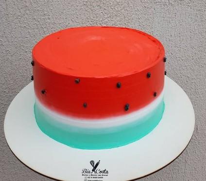 bolo melancia redondo e simples