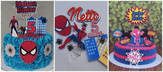 modelos de topo de bolo de papel do Homem Aranha