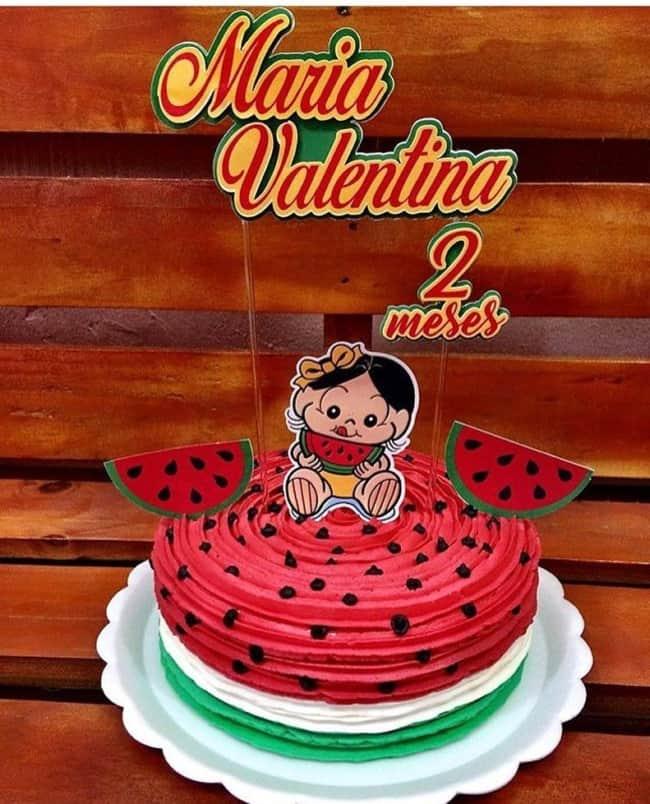 bolo melancia decorado com Magali baby