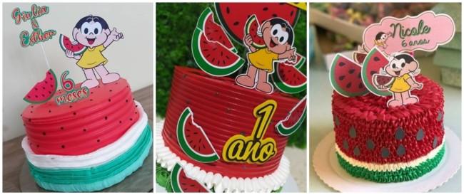 ideias para bolo melancia com Magali