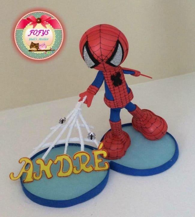 modelo de topo em EVA para bolo Spider Man