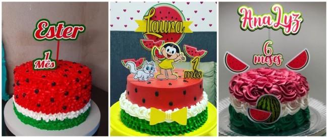 ideias para bolo melancia mesversario